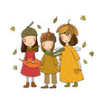 three small forest fairies cartoon elves autumn vector image