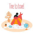 tme to travel woman planning trip with paper map vector image vector image