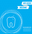 tooth icon on a blue background with abstract vector image vector image