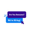 we re hiring simple badge vector image vector image