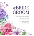 wedding invitation card with flowers in watercolor vector image
