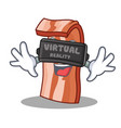 with virtual reality bacon mascot cartoon style vector image vector image