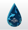 world oceans day paper art sea fish vector image vector image