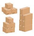 set of cardboard boxes isolated on white vector image