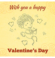 Wish you a happy Valentines Day greeting card vector image