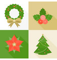 christmas ornament flat design with long shadow vector image