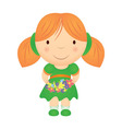 cartoon girl holding flowers vector image