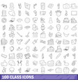 100 class icons set outline style vector image vector image