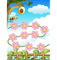 A bee and flowers vector image