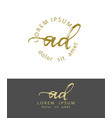 a d initials monogram logo design dry brush vector image vector image