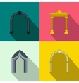 Arch banner set flat style vector image vector image