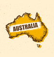 Australia vintage map damaged classic yellow with vector image