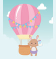 baby shower cute bunny with bottle milk and air vector image vector image