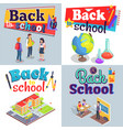 back to school posters with colorful inscriptions vector image vector image