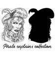 beautiful pirate captain woman and silhouette vector image vector image