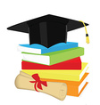Book stack graduation cap and diploma vector image vector image