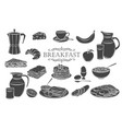 breakfast icons glyph vector image