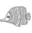 card with fish coloring book page for adults and vector image vector image