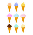 cone ice cream set dessert waffle cup sweetness vector image vector image