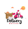 delivery online box delivery man on scooter backgr vector image vector image