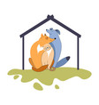 dogs and cat friendly pets and doghouse on lawn vector image