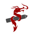 dragon pencil logo design mascot template isolated vector image vector image