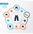 dress icons set collection of trunks cloth heel vector image vector image