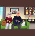 elderly couple playing games at home vector image