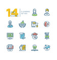 elearning- colored modern single line icons set vector image vector image