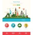 Flat design travel website header banner with vector image