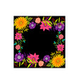frame flowers colors blank black template isolated vector image