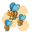 friendly cute bee flying and smiling vector image vector image