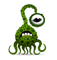 funny and scary bacteria monster with tentacles vector image vector image