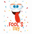 funny face with tongue to fools day vector image