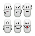 funny white cartoon pills with different emotions vector image