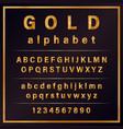 gold colored metal chrome alphabet font vector image