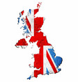 grunge united kingdom map with flag inside vector image