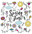 hand drawn doodle set of spring flowers vector image vector image