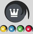 King Crown icon sign Symbol on five colored vector image vector image
