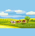 lovely country rural landscape cow grazing farm vector image
