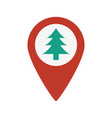 marker location icon with christmas tree vector image vector image