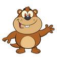 marmot cartoon character waving vector image vector image