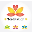 Meditation Yoga sign lotus flower in different vector image vector image