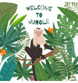 monkey white headed capuchin in jungles leaves vector image vector image