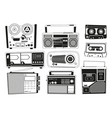 monochrome pictures set of various vintage audio vector image vector image
