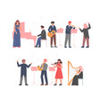 musician characters playing musical instruments vector image vector image