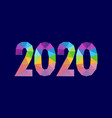 numbers 2020 triangle shape polygonal design vector image