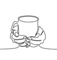 one line drawing hand holding mug with tea or vector image vector image