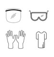 personal protective equipment ppe set various ppe vector image