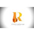 r orange letter design brush paint stroke gold vector image vector image